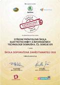 Certifikát Doporučeno zaměstnavateli 2018 - 1.místo
