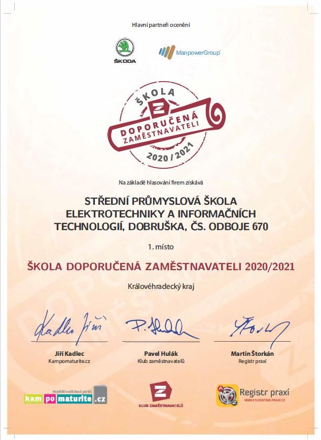 Certifikát Doporučeno zaměstnavateli 2020/21 - 1.místo